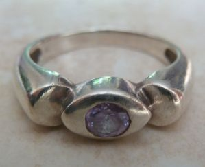 Sterling Silver And Amethyst Rose De France Ring.
